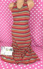 NEW RALPH LAUREN $49.50 girls youth red multi striped cotton maxi long dress NWT
