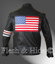 Easy Rider Peter Fonda Motorcycle Jacket with US Flag on the Back