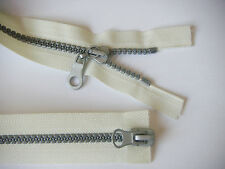 No 5 CREAM ZIP/ CHUNKY SILVER TEETH/ OPEN END & TWO WAY