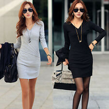 Fall Winter Womens  Long Sleeve V neck Bottoming Bodycon Party Club MINI Dress