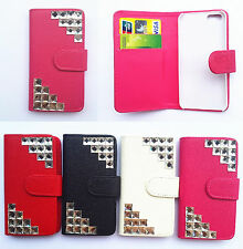 Diamond Crystal Flip PU Leather Card slots wallet cover case for Samsung phone 1