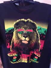 COOL!  Tony Hawk Lion with Glasses DJ Black Neon T-Shirt  NEW Small $20 Value