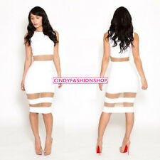 New Women Clubwear Cocktail Mesh Hollow out Slim Fit Bodycon Bandage Party Dress