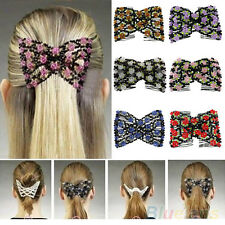 GOOD STRETCH ROSE FLOWER BOW GLASS BEAD HAIR HEAD COMB CUFF GLAMOUR INSERT CLIPS