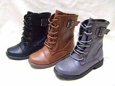 New Girls Kids Army Military Mid Calf Combat Riding Lace Up Zipper Boots Shoes
