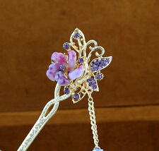 Fashion charm Bobby Pin flower butterfly hairpin colorful rhinestone hair stick