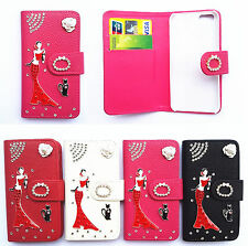 Diamond Girl Flip PU Leather Card Slots Wallet Pouch Cover Case for Nokia phones
