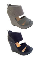 LADIES HIGH BLOCK HEEL PLATFORM WEDGE CUFF PEEP TOE STRAP SUEDE HOT WOMENS SHOES