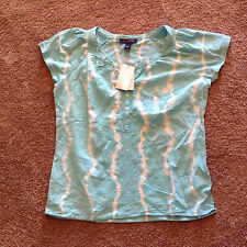New With Tags Bandolino Womens Peasant Blouse-Size-Small-Color-Turquoise/White