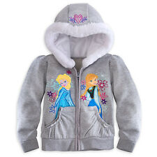 Disney Kids Frozen Gray Elsa Queen Anna princess Girl hoodies Top Jacket coat