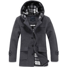 Winter MENS warm hooded wool hoody long overcoat trench jacket coat Outerwear