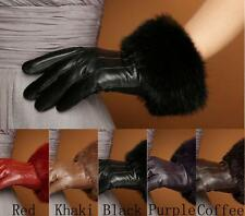 Women Warm Winter Genuine Leather Rabbit Fur Touch Screen Wrist Gloves S M L