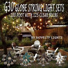 100 Foot G30 Outdoor Lighting Patio Party Globe String Lights-125 Clear Bulb Set