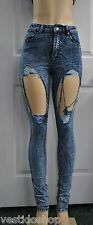 High rise mineral acid stone wash destroyed distressed holes ripped jeans P9401