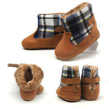New Toddler Baby Boy Rubber Sole Boots Winter Check Newborn Shoes Walking Shoes