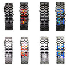 Red Blue LED Lava Wrist Watch Iron Bracelet Digital Samurai Metal Sports Unisex
