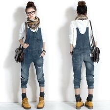 Elegant Women's Washed Casual Jumpsuit Romper Overall Jean Frayed Denim Pant AM