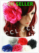 Ladies Girls BIG Large Rose Flower Hair Wedding Party Clip/ Brooch/ Fanscinator
