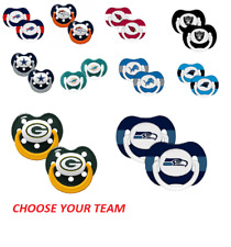 NFL 2 Pack Pacifiers Silicone BPA Free - CHOOSE YOUR TEAM - Baby Fanatic