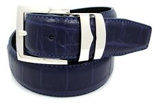 "Men's Genuine Crocodile Leather Belt Silver Buckle 1.4"" Wide Belt Navy Blue"
