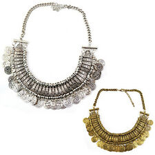 Womens Exquisite Silver Coins Pendant Statement Bib Chunky Charm Choker Necklace