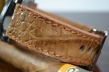 MA WATCH STRAP 22 MM REAL CROCODILE LEATHER F.PANERAI HANDMADE SPAIN TABAC MAT