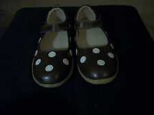 NEW BROWN W/ WHITE POLKA DOTS MARY JANE STYLE PUDDLE JUMPER SHOES BOUTIQUE