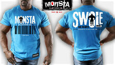 Monsta Bodybuilding Clothing:- SWOLE-Scan for Growth-81 T-Shirt: Blue