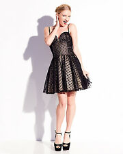 Betsey Johnson Dress LBD Tiny Dot Zip Front Party Dress in Black-NWT: RP: $188