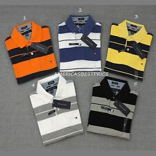 TOMMY HILFIGER  NEW MENS STRIPED COTTON PIQUE POLO RUGBY SHIRT,CUSTOM FIT,NWT