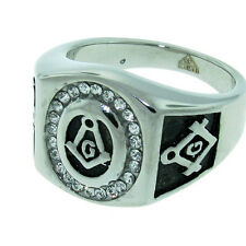 MENS SILVER DESIGNER STYLE STAINLESS STEEL FREEMASON MASON MASONIC CZ RING