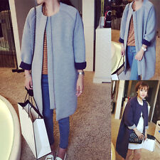 Fashion Womens Long Sleeve Crew Neck Trench Coat Jacket Oversized Zip Overcoat