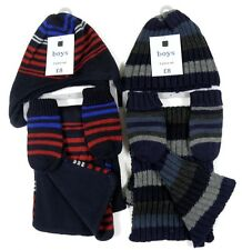 Boys Red Navy Grey Striped Hat Gloves Mitts Scarf 3 Pc Knitted Set 1-10Y BNWT