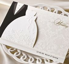 White-Black Embossing Lovers Wedding Invitations Cards with Envelopes, Seals