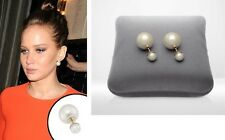 Tribal pearl earring, double sided earring, pearl studs, pearl earrings white