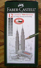 12 Faber Castell 9000 Art Set Pencils with 1 Eraser & Sharpener