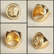 2014 Men's 24K Gold Plated Large Medusa Head Ring US Size 8~11 in a gift box