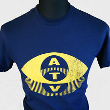 ATV T-Shirt Retro Logo TV Vintage Old School Gold Cool Cult Tee BBC ITV New