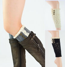 Women's Crochet Lace Three Buttons Knitted Boot Toppers Leg Cuffs Warmers Socks