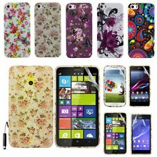 RUBBER PRINTED SILICONE GEL CASE COVER FOR VARIOUS PHONES + SCREEN GUARD +STYLUS