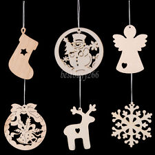 Fashion 10pc Wooden XMAS Tree Decoration Wood Christmas Tree Pendant Charms