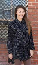 NEW Tulip Poet Shirt Tunic Top Cotton Boho Lagenlook Black/White Dot Choose S-XL