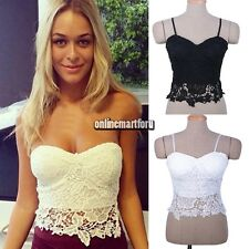 Sexy Women Floral Lace Corset T-shirt Bustier Crop Top Blouse Strapless Bra ONMF
