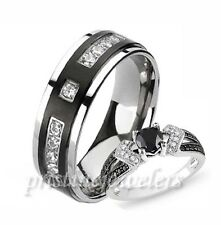 His & Hers .925 Sterling Silver Womens Wedding Ring Mens Black Titanium CZ Band