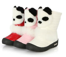 New Kids Children Girls Winter Warm Snow Boots Panda Shoes Faux Fur Size6-4.5