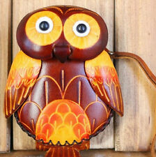 Womens Designer Genuine Leather Handmade Animal OWL Money Coin Case Purse Wallet