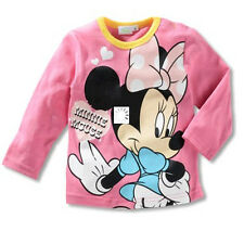 Size90-130 100%Cotton Minnie Mouse Baby Girls Kids Long Sleeve T-Shirt/Shirt New