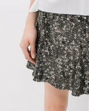 BNWT ZARA ZARA SEQUIN EMBROIDERED FLARED SKATER SKIRT  Size M and S