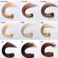 """18""""45cm 7Pcs/Set Remy Clip in 100% Real Human Hair Extensions Brown Black Blonde"""