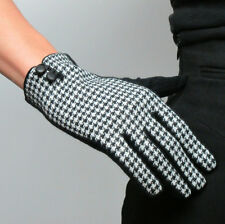 Tweed Wool Gloves Swallow Gird Knit Houndstooth Thousands Birds Leather Button